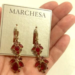 Dark red and gold earrings